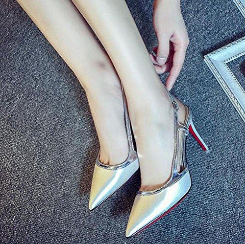 Pointed High Word 38 Heel Banquet WHITE Single One Buckle Silk HIGHXE Women'S Dance Summer Elegant Shoes Toe qaPIxztw