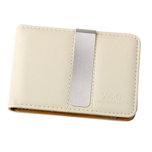 91e82fd400900 Brown  Beige Fine Leather Wallet-Money Clip Mans Wallet Credit Card Holder  with Magnetic