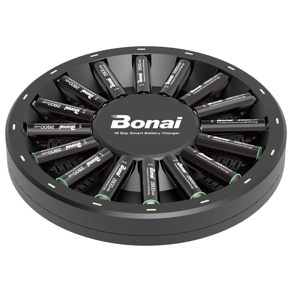 BONAI 16 Bay Smart Battery Charger Round with 16 Pack AA High-Capacity 2800mAh Ni-MH Rechargeable Batteries by BONAI (Image #1)