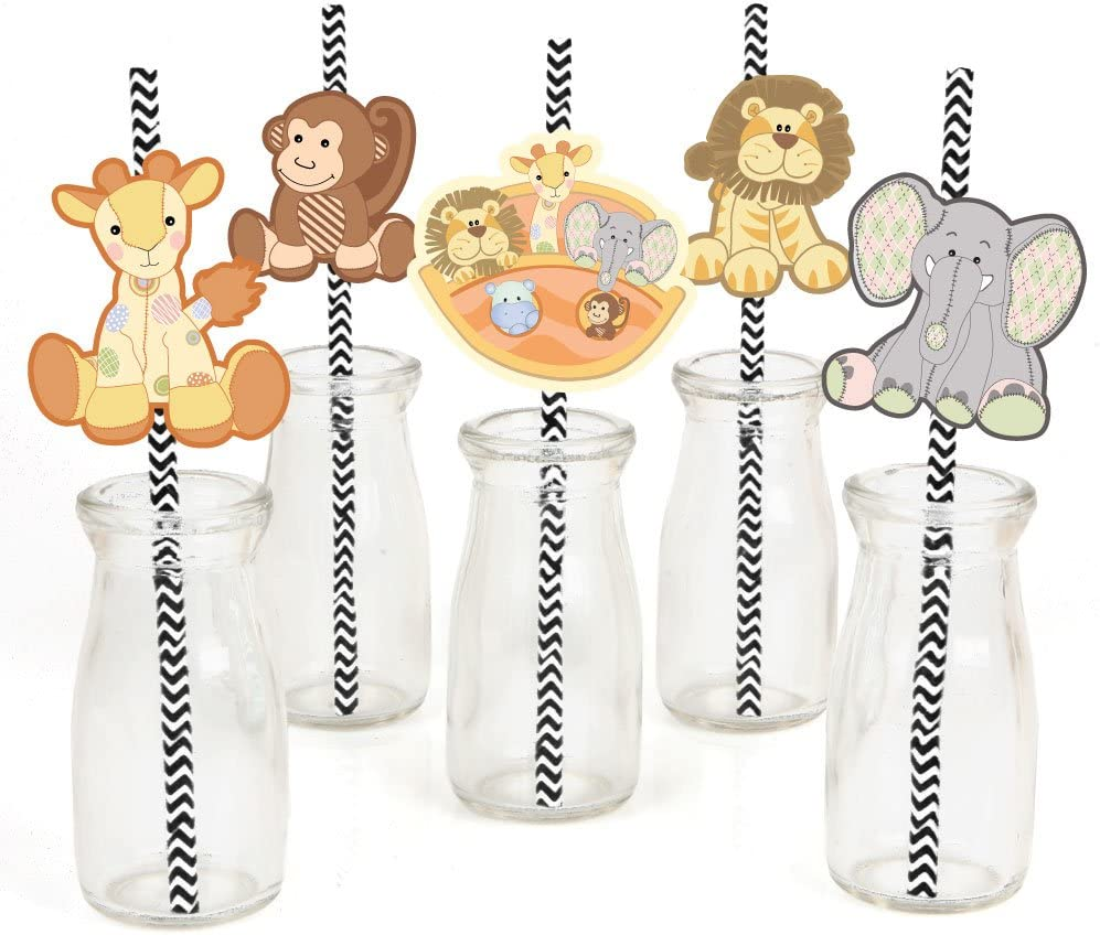 Noah's Ark Paper Straw Decor - Baby Shower or Birthday Party Striped Decorative Straws - Set of 24