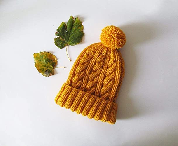 282233959b518e Amazon.com: Cable Knit Hat in Yellow, Hand Knit Beanie with Folded Brim,  Womens Pom Pom hat, Winter Accessories, Wool Blend, Gift For Her: Handmade
