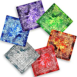 Bandana, 12 Pack 100% Cotton Bandanas for Women Men with Paisley, Flags & More (Tie-dye Mixed Color)