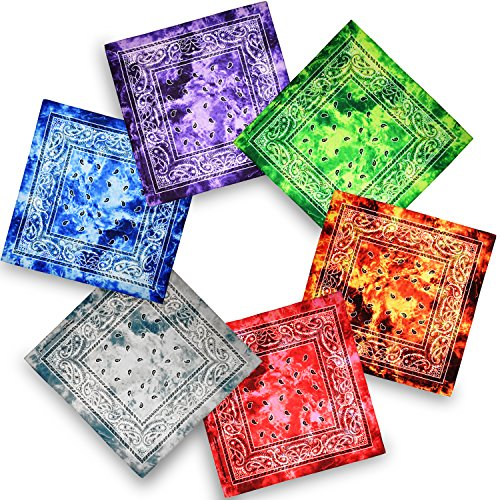 Bandana, 12 Pack 100% Cotton Bandanas for Women Men with Paisley, Flags & More (Tie-dye Mixed -