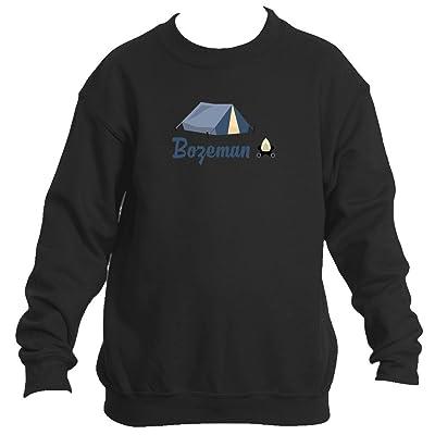 Bozeman Camping & Camp Fire - Montana Youth Fleece Crew Sweatshirt - Unisex