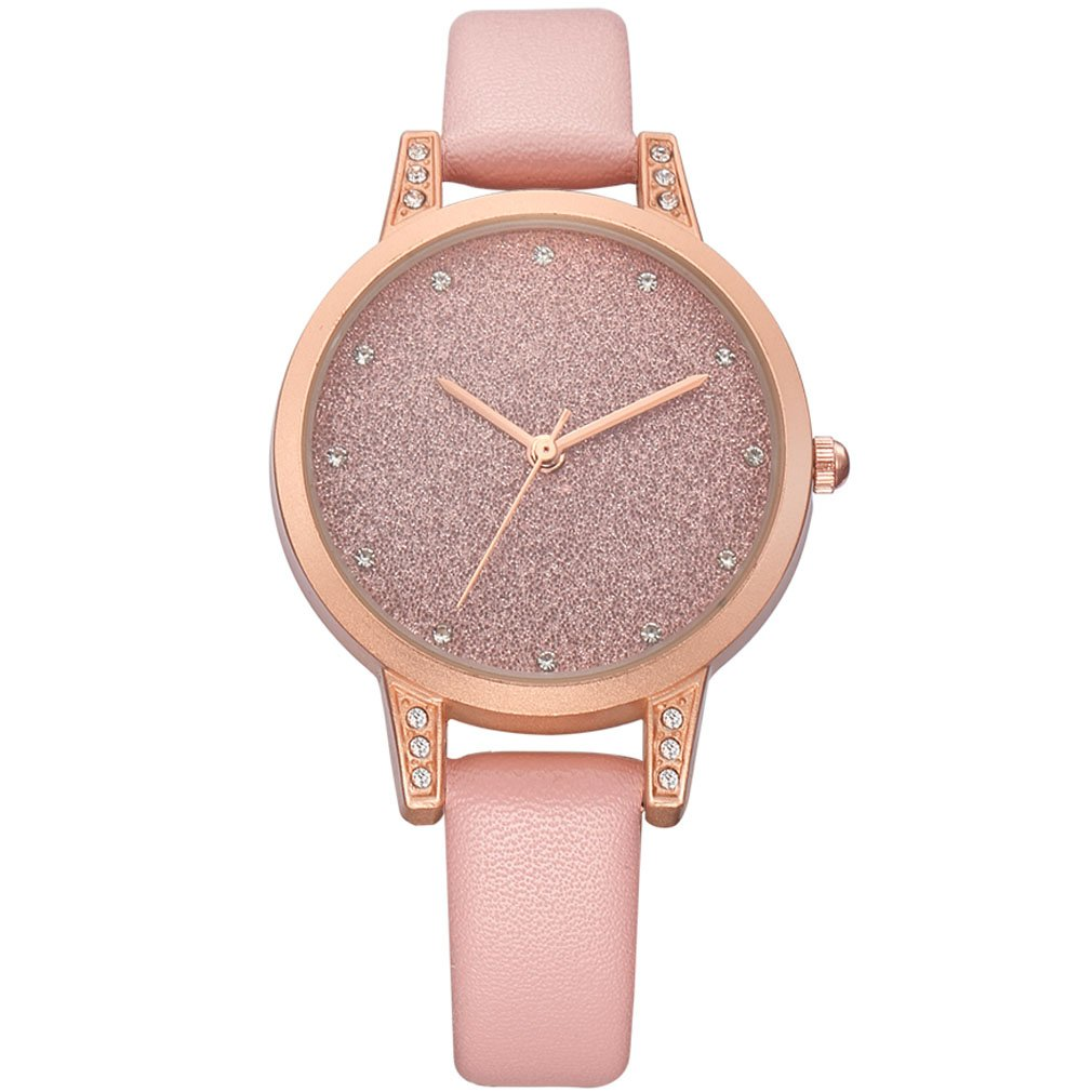 Rebirth Fashion Causal Watches Sweet Style Girl Leather Band Strap Wrist Watch for Women (Pink)