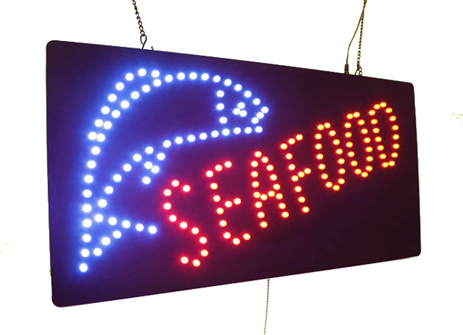 Seafood Sign, TOPKING Signage, LED Neon Open, Store, Window, Shop, Business, Display, Grand Opening Gift