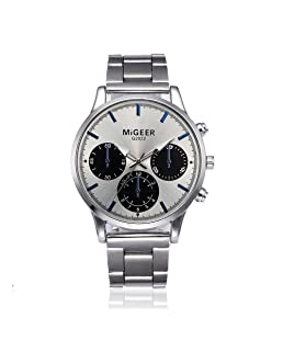Men Crystal Watch Trendy Stainless Steel Quartz Wrist Watch Buisness Luxury Colock (Free Size, B)