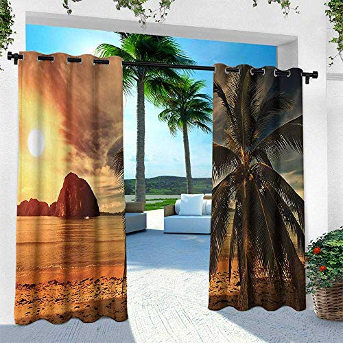 Hengshu Ocean, Outdoor Blackout Curtains,Havana Beach Sunny Tropics Mountains Rocks and Coconut Palm Trees, W120 x L108 Inch, Orange Light Brown Dark Green