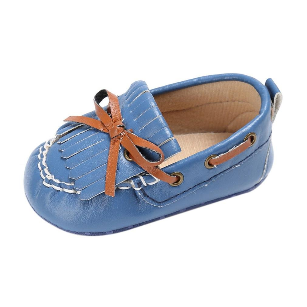 Voberry Baby Toddler Girl Boys' Leather Slip-On Loafers Tassel Bowknot Flat Shoes Sneakers