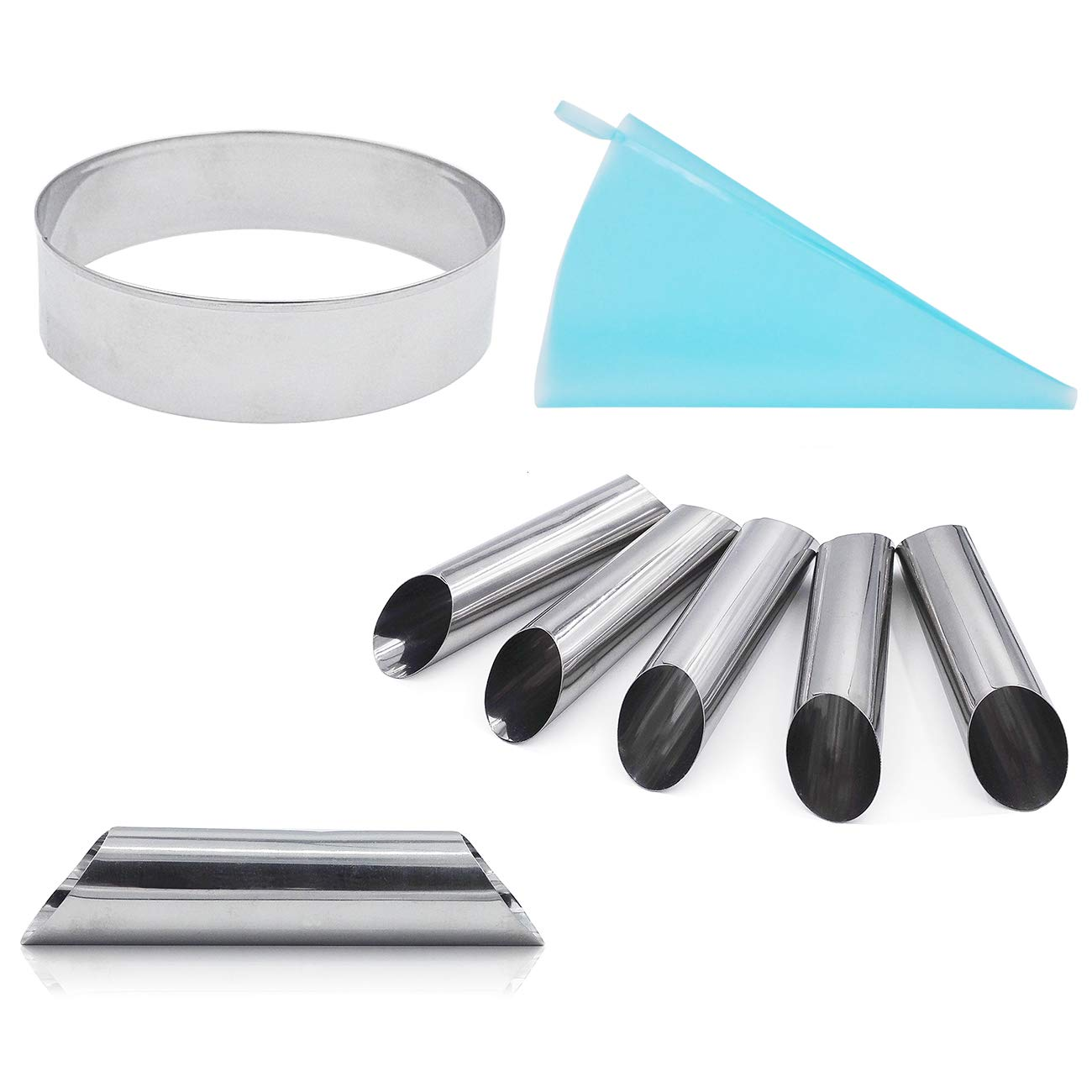 Cannoli Forms Pastry Roll Molds,Stainless Steel Cannoli Tubes,Set of 20 [Free Pastry Bag and Round Cookie cutter as Bonus]