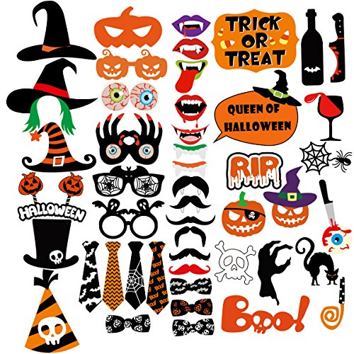 Tinksky Halloween Party Photo Booth Props Creative Happy Halloween Pose Sign Kit for Party Decoration 47-pack -