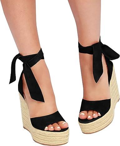 Women Summer High Heels Platform Lace up Sandals Pumps Party Club Wedge Shoes