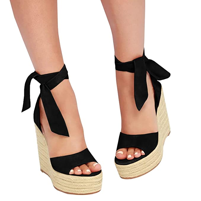 33742967ac6 Womens Platform Lace Up Wedge Espadrille Heel Peep Toe Sandals with Ankle  Strap Buckle Up Shoes