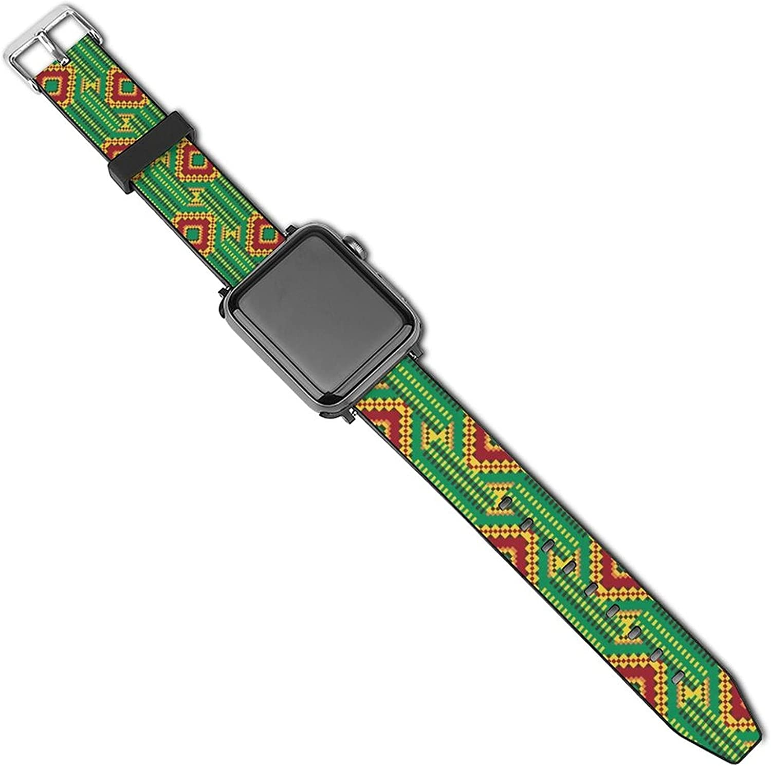 Stretchy Strap Loop Compatible with Apple Watch Bands , Ethnic Kente Tribal Print GreenAdjustable Sport Leather Women Men Wristband Compatible with iWatch Series SE/6/5/4/3/2/1
