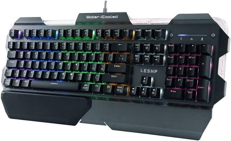 leshp Gaming Mecánica Teclado, Liquid Cooled Teclado, 7 Color Fondo, estructura de aluminio, QWERTZ Teclado En Alemán, Gamer Gaming Keyboard para PC ...