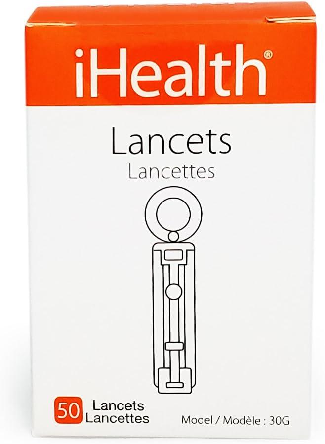 iHealth Sterile 30 Gauge Lancets for Measuring Blood Glucose Levels, 50 Count