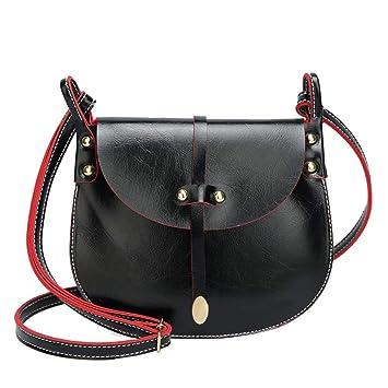 ed52afa00b Yihaojia Leather Fashion Rivets Leather Hit color Crossbody Bag Shoulder Bag  Hand Bag for Women Girls