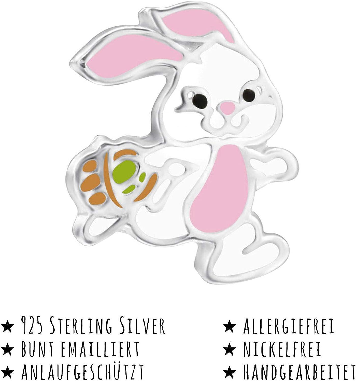 Pendientes de plata de ley 925 con dise/ño de conejo de Pascua para ni/ña Monkimau