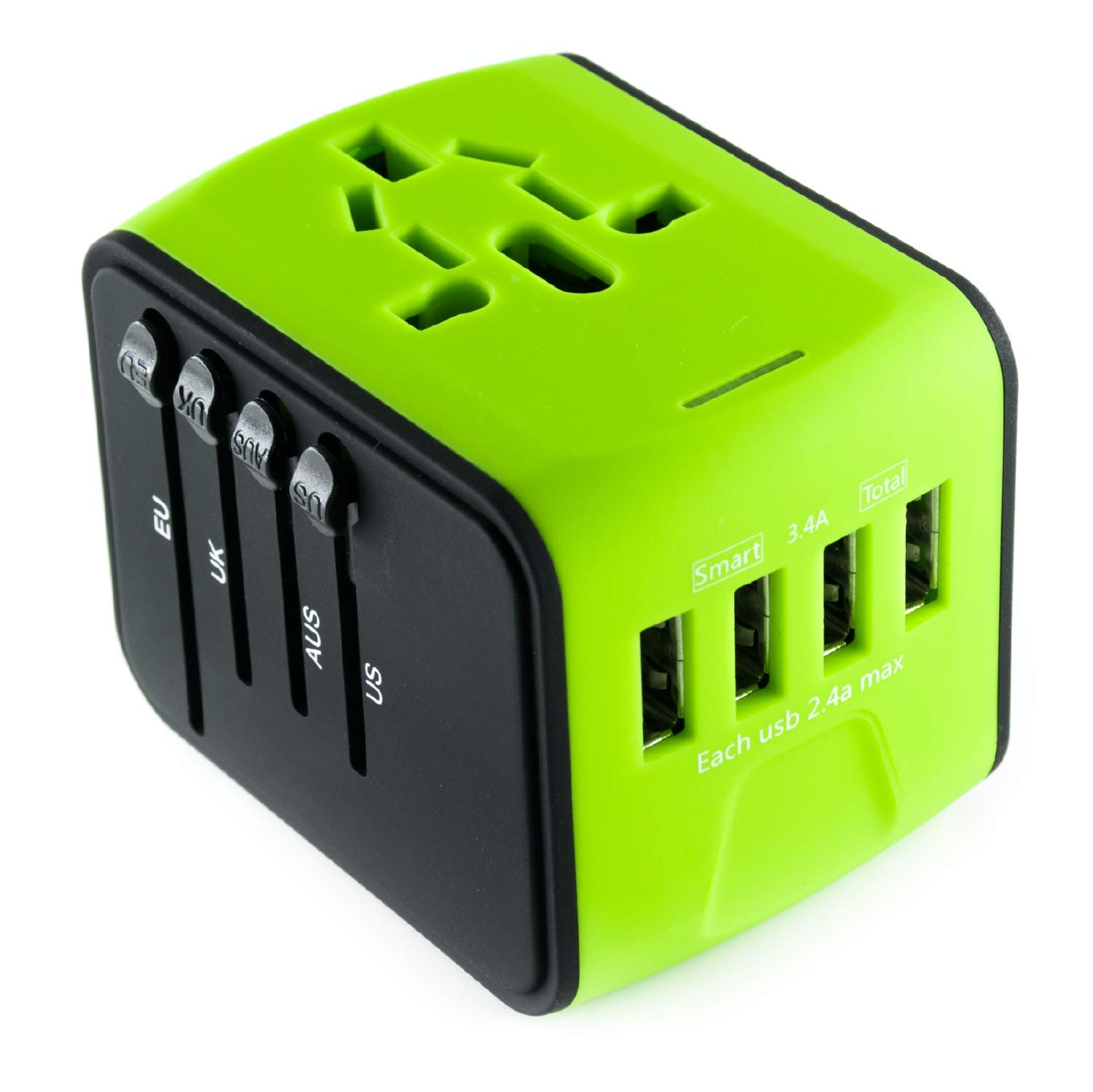 International Travel Adapter Universal Power Adapters Plug Converter Worldwide All in One with 4 USB Ports and AC Socket Perfect European Adaptor for US EU UK AUS Asia Europe Italy American (Green)