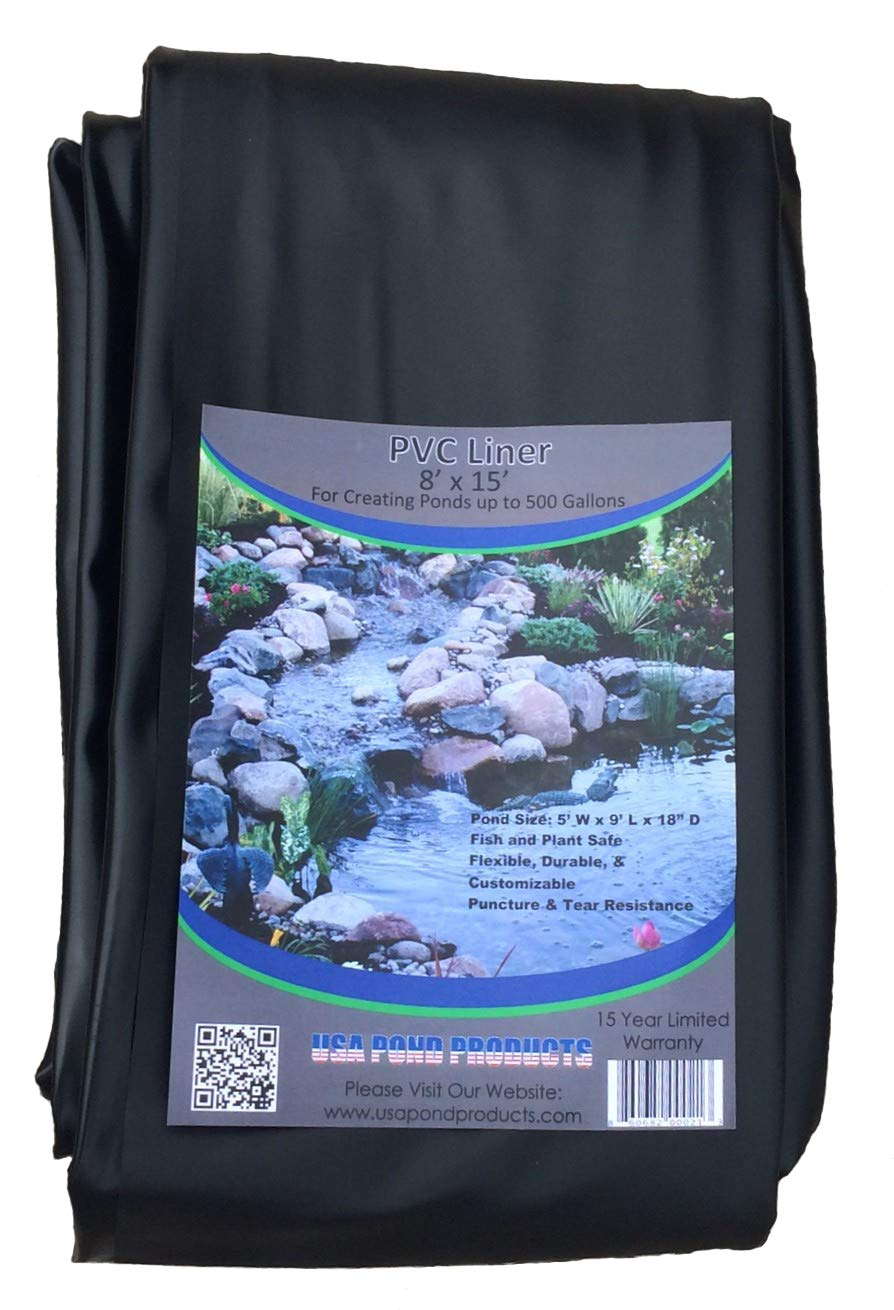 Pond Liner - 8' x 15' Black for Koi Ponds and Water Gardens by USA Pond Products