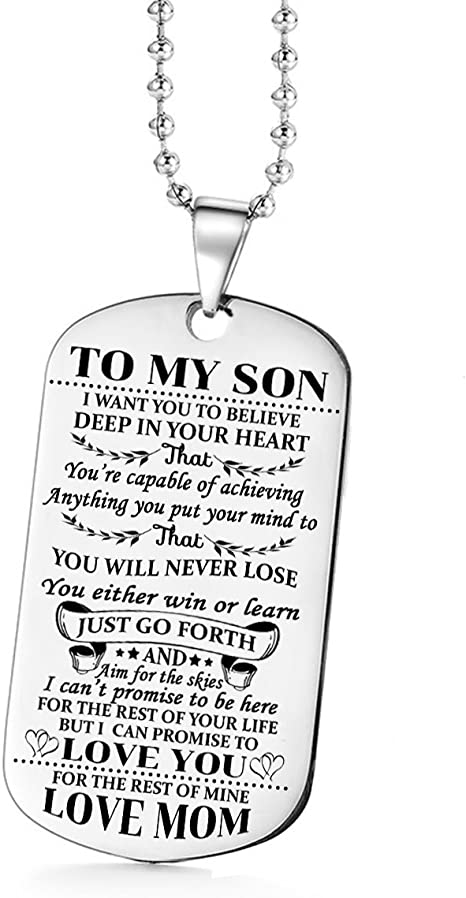 MOM To My Son I Love You Dog Tag Necklace 5cm x 3cm