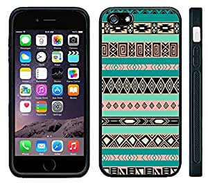 Apple iPhone 6 Black Rubber Silicone Case - Aztec Pattern Print Indian Tribal Style