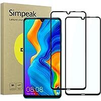 Simpeak 2-Packs Cristal Templado para Huawei P30 Lite, Protector de Pantalla Huawei P30 Lite 2019 Premium Protección Complet Bubble Free/HD Clear/Anti-Huella - Negro
