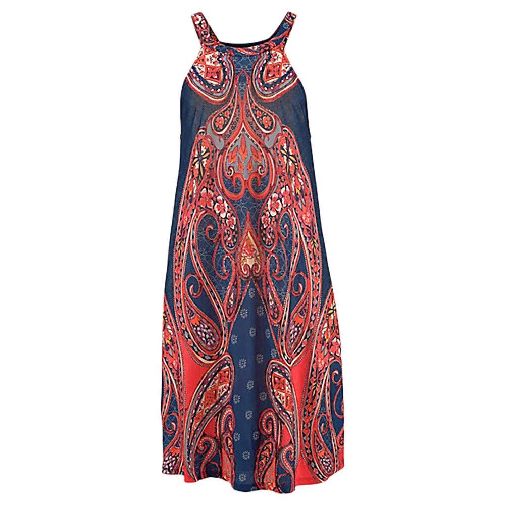 HGWXX7 Women Boho Print Shift Dresses Casual Halter Neck Sleeveless Beach Sundress Mini Dress