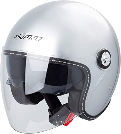 Jet Helmet City Retr/ò Open Face Motorcycle Double Visor Scooter Matt Black S