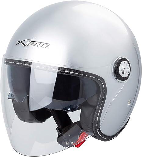 Casque Moto Jet City Retr/ò Homologu/é ECE 22-05 Double Visi/ère Scooter Argent S