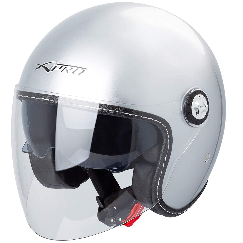 Jet Helmet City Retr/ò Open Face Motorcycle Double Visor Scooter Black L
