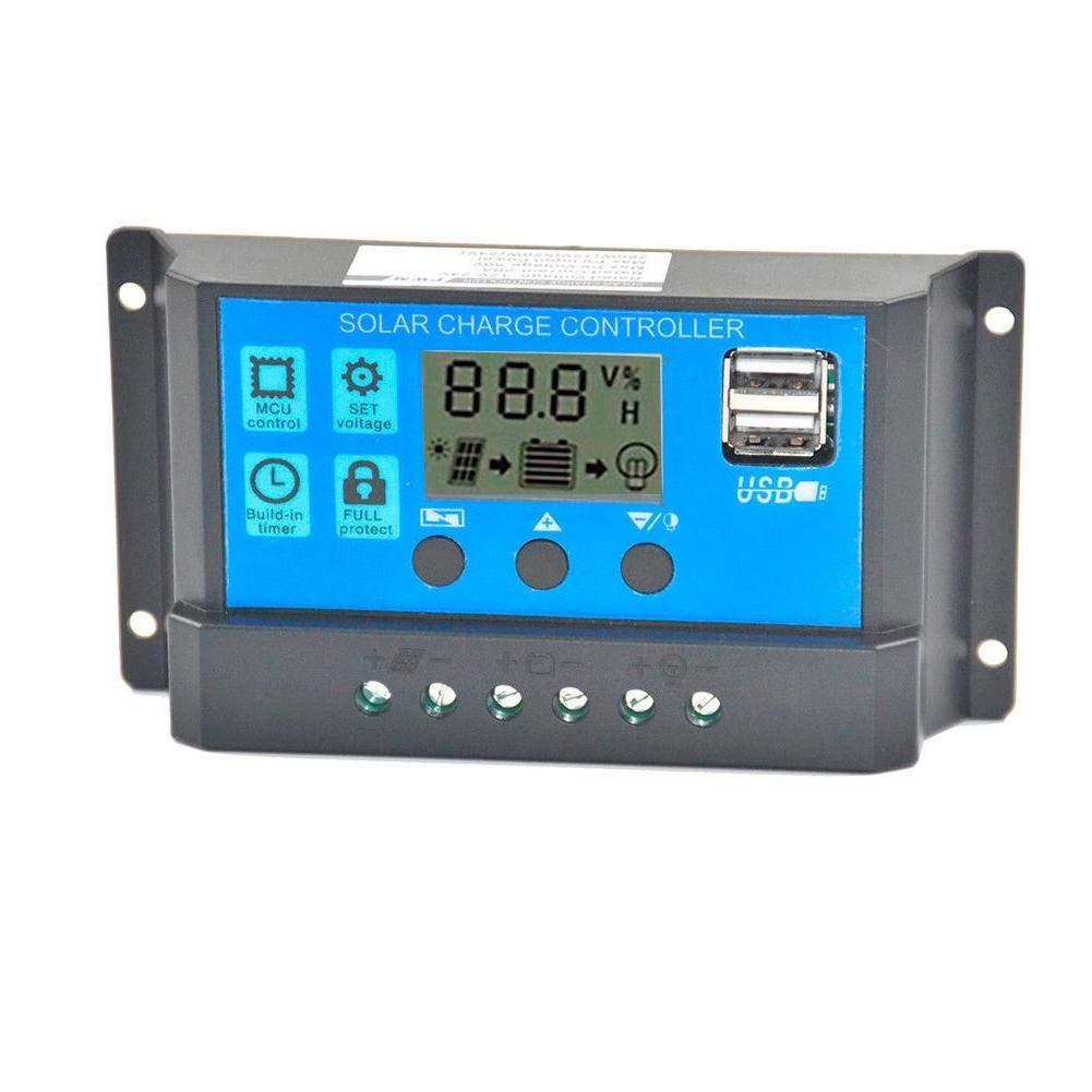 Niome Solar Panel Charger Controller Battery Regulator Dual USB LCD Display 60A 12V 24V