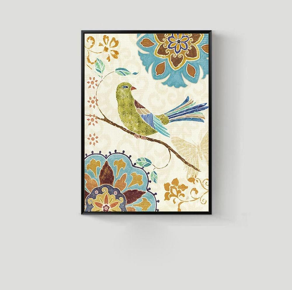 ZSH Flores Y Pájaros del Jardín del Estilo Europeo Y Americano Pintura Decorativa Sala Arte Murales Entrada Vestíbulo Dormitorio Pintura Casera,Do,50  70cm