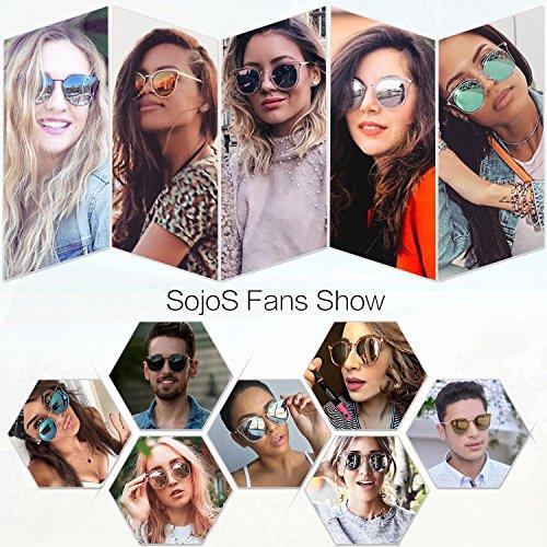 d1da7c6b7f3b SOJOS Fashion Polarized Sunglasses for Women UV400 Mirrored Lens SJ1057  with Rose Gold Frame Pink