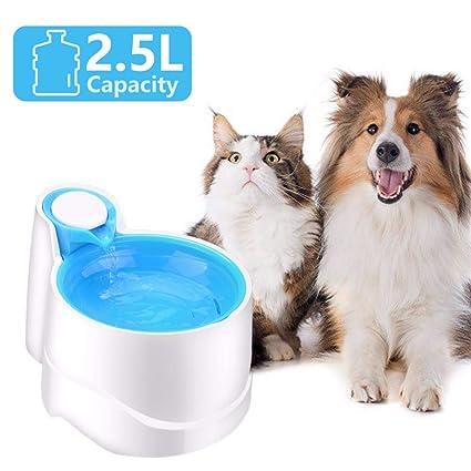HLMF Circulación automática Cat Dog dispensador de Fuente de Agua Night Light Pet Feeder