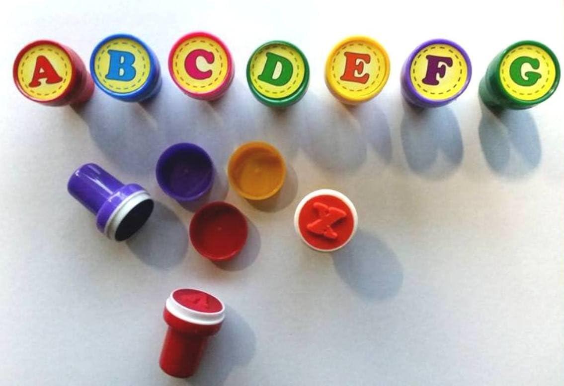 26er Set ABC-Stempel Kinder Holzstempel Motivstempel Buchstaben Alphapet NEU