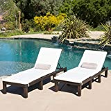 Chair Lounge (Set of 2) Estrella Outdoor PE Wicker Adjustable Chaise Lounge Chairs w/ Cushions