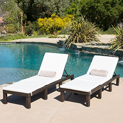 (Set of 2) Estrella Outdoor PE Wicker Adjustable Chaise Lounge Chairs w/ Cushions (Outdoor Patio Chaise Lounge)