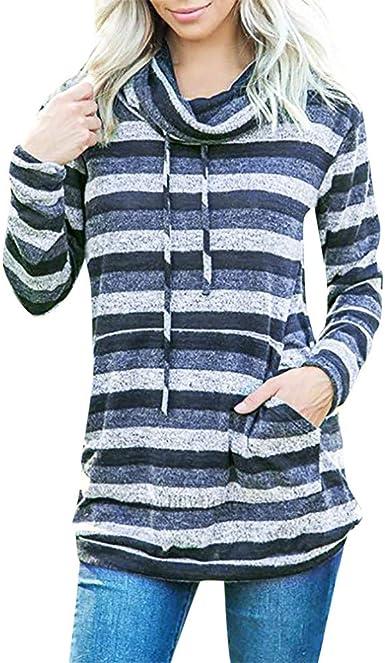 VJGOAL Mujer otoño e Invierno Moda Casual Bufanda Cuello Rayas Manga Larga Bolsillo con cordón suéter Superior Sudadera Camisa