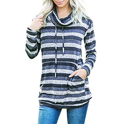 CCSDR Cute Sweatshirts for Women Clearance Sale 2018 New Casual Women s  Novelty Tops   Tees Women Cowl Neck Striped Long Sleeve Pocket Drawstring  Pullover ... c43984e439