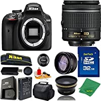 Great Value Bundle for D3400 DSLR – 18-55mm AF-P + 32GB Memory + Wide Angle + Telephoto Lens + Case