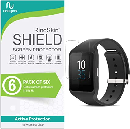 (6-Pack) RinoGear Sony SmartWatch 3 Screen Protector Case Friendly Screen Protector for Sony SmartWatch 3 Accessory Full Coverage Clear Film
