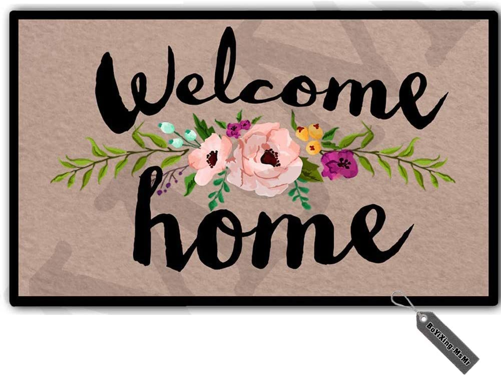 MsMr Door Mat Entrance Mat Welcome Home Flowers Non-Slip Doormat 23.6 by 15.7 Inch Machine Washable Non-Woven Fabric