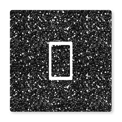 METAL FLAKE GLITTER EFFECT UK LIGHT SWITCH STICKERS, KITCHEN LIVING ROOM DECORATING (Black Single Switch)