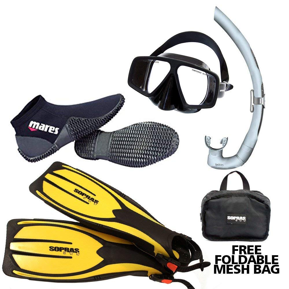 DXDiver Mares Snorkeling Pack Scuba Diving Basic Package Mask Snorkel Fins Equator Boots Free Gear Bag (Fins L-XL/Boots 13)