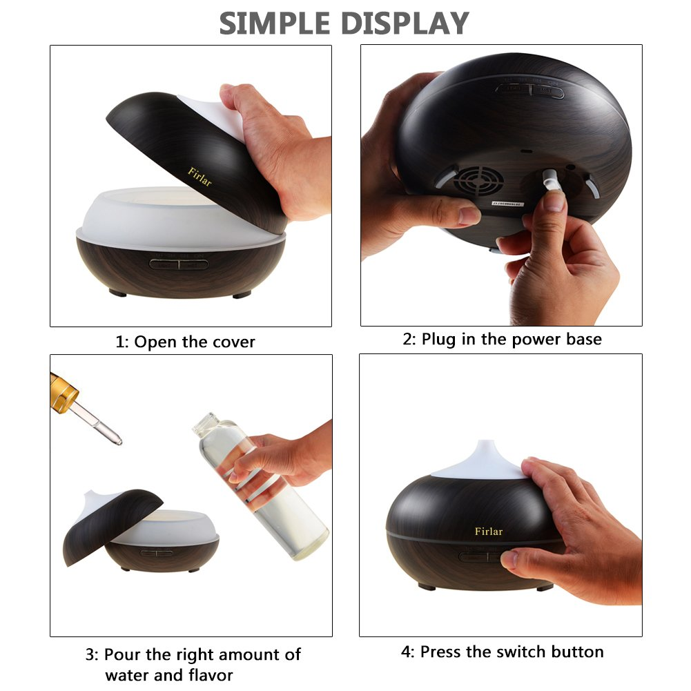 Firlar 300ml Wood Grain Cool Mist Ultrasonic Humidifier LED Night Lamp Aromatherapy Oil Diffuser Baby-AUTO Shut off Lights For Office Yoga Home Bedroom