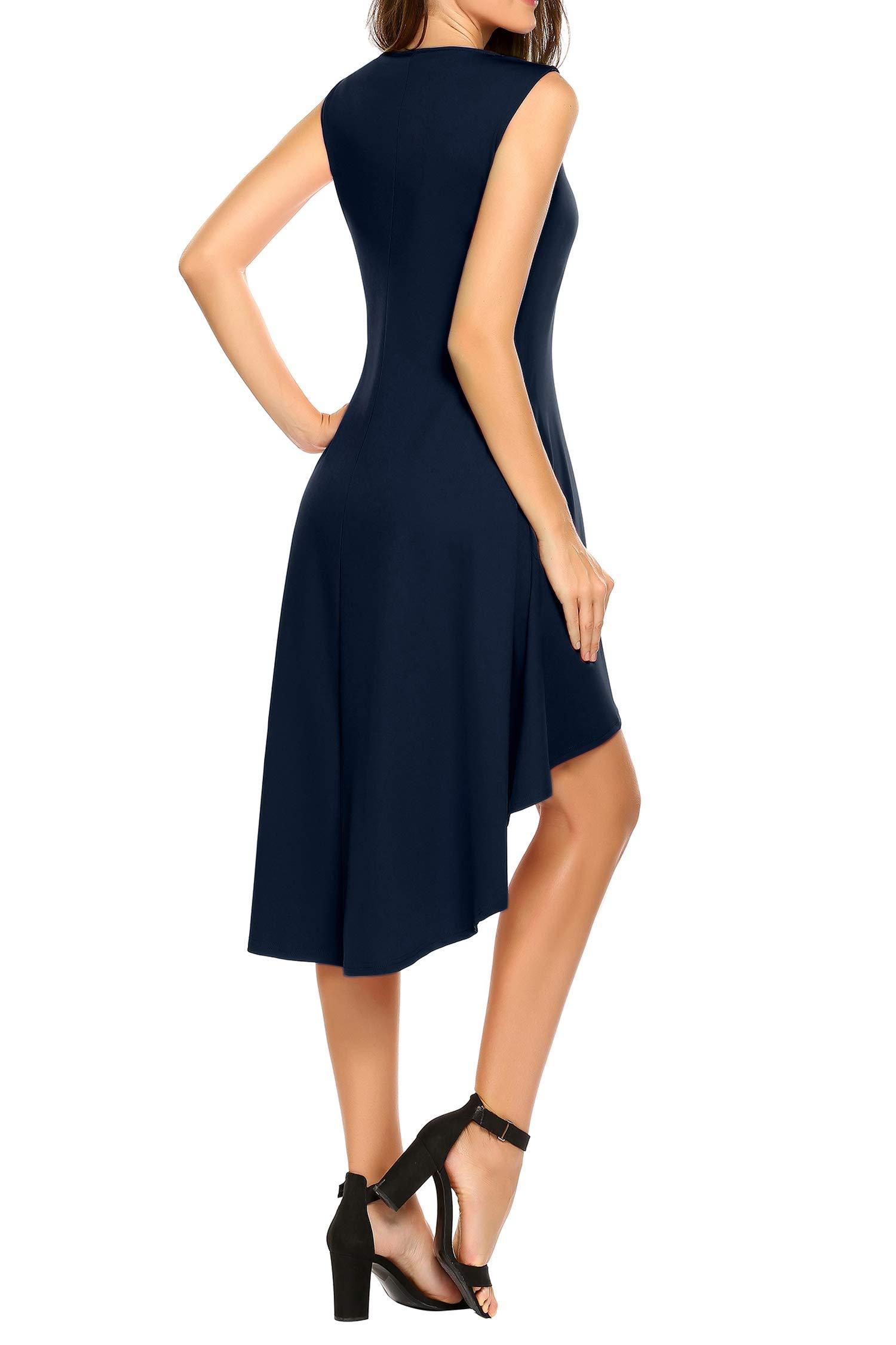 Eroihe Elegant Kleid Damen Ärmellos Unregelmässig Cocktailkleider Party Ballkleid Abendkleider Tasche