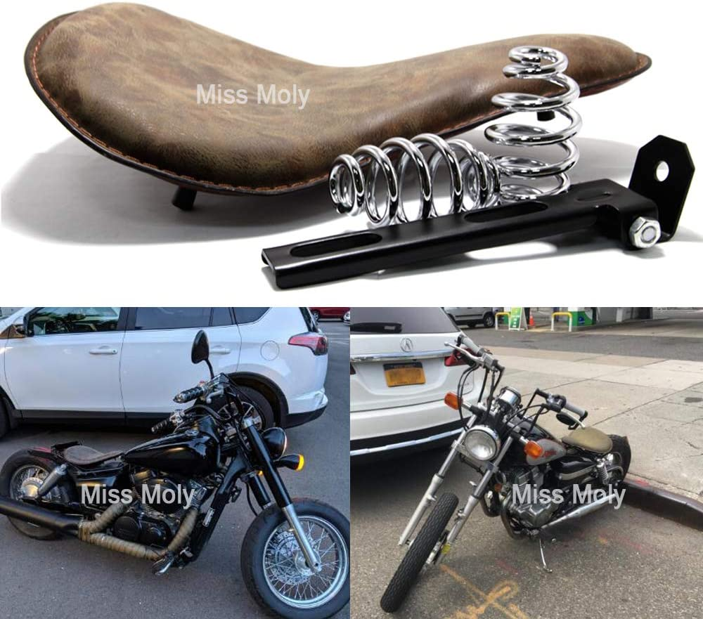 Vintage Motorrad Solo Sitz mit 3 Zoll Federn f/ür Sportster Chopper Bobber