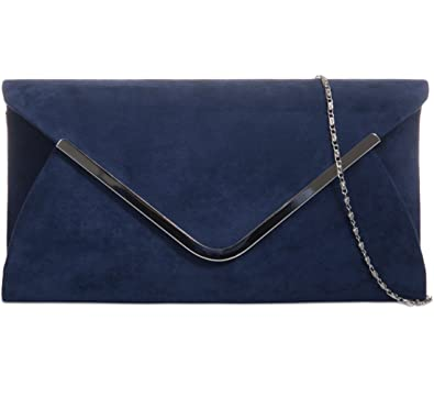 b1e69fd1d Navy Blue Envelope Clutch Bag, Dark Blue Faux Suede Evening Bag with Silver  Tone Metal Trim, Ladies Prom Shoulder Bag, Wedding Handbag: Amazon.co.uk:  Shoes ...