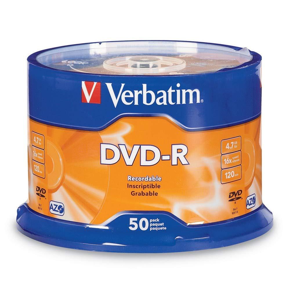 Verbatim DVD-R 4 7GB 16x AZO Recordable Media Disc - 50 Disc Spindle